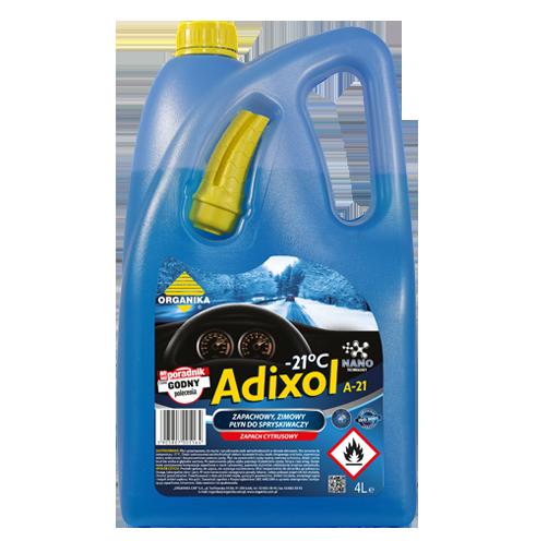 Zimowy płyn do spryskiwaczy Adixol zapewnia skuteczne usuwanie brudu lodu smug