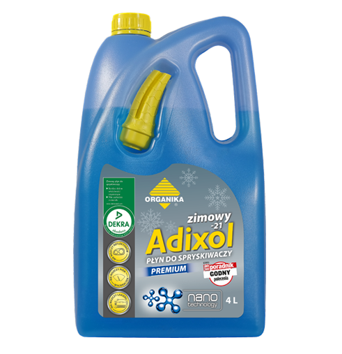 Zimowy płyn do spryskiwaczy Adixol Premium posiadający certyfikat DEKRA